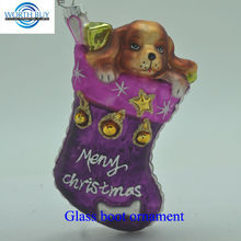 Dog in boot spun glass christmas ornaments from China factory