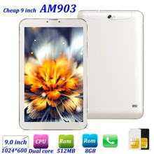 Cheap stock sale Slim 9inch dual core 512MB 8GB Dual Sim 3G smart phone AM903