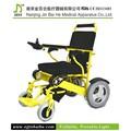 Amarelo dobrável leve cadeira de rodas motorizada