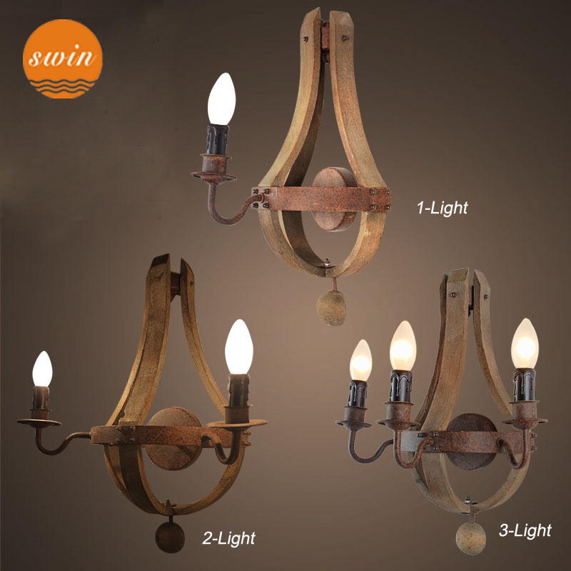 Retro Industrial Wood Wall Sconce 1 Light Antique Rustic Iron Wall