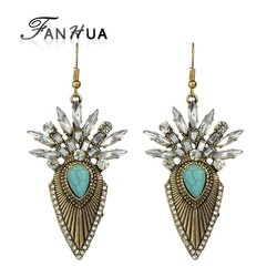 Vintage Design Gold Silver Plated Rhinestone Hanging Stud Earrings for Women