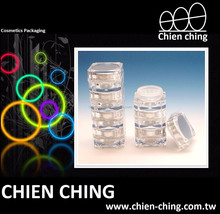 Empty Plastic Cosmetic Loose Powder Packaging Stackable Jars Plastic Container