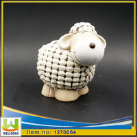 Ceramic garden statues sheep with fur coat