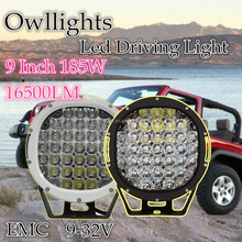 4x4 accessorie , super bright 9inch 185w led driving light round ,185w offroad led car headlight for ATV,4wd, SUV, Truck