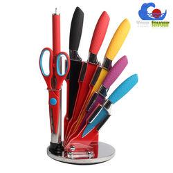 7pcs kitchen acrylic knife block with color knife set