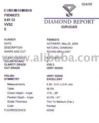 LOOSE POLISHED IGI CERTIFIED DIAMOND 0.61 CT E/VVS2