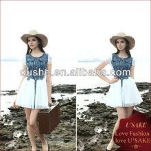 Design de mode de dame 2013 denim. s129676 robe en dentelle