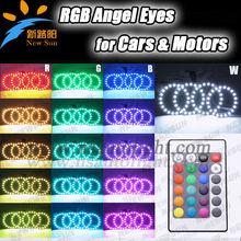 4pcs 72mm RGB RGB ANGEL EYES LED multicolor de 5050 de Halo Anillos kit remoto de coches Auto Faro Bombillas de colores cambiant