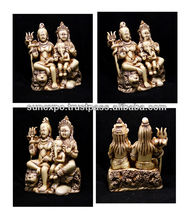 "10pcs Hand Carved Meditating God Shiva Parvati and Nandi Ganesh Resin Wall Hanging Statue Size 5""x4"" wholesale lot"