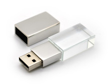hot selling crystal glass USB flash drive with logo laser inside