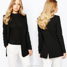 New fashion ladies blazer designs Regular fit Single button fastening women long blazer