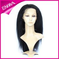 100% Brazilian Virgin Hair Kinky Straight Glueless Full Lace Silk Top Bleached Knots Wig