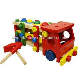Multi-function wooden building block truck,Funny DIY wooden tool car toys set,