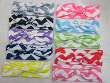 5.5cm baby girls pink chevron bunny head wear hair accessories for baby knotted headband