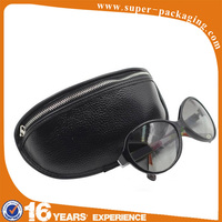 Custom packaging soft first layer cow leather zipper bag for sunglasses coins