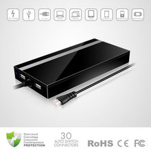 CE, FCC, RoHS Stylish 90W Ultra Slim Universal Laptop AC Adapter, computer battery with Dual USB output and crystal connection