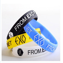 2014 Popular EXO custom silicone bracelets with the each name and logo