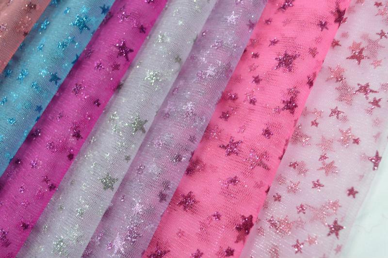 Poliéster Glimmer Tulle tecido metálico para decoração e vestido ...