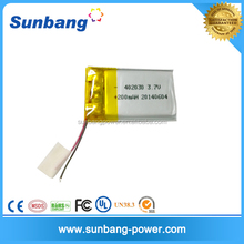 402030-3.7v-200mah li-ion polymer battery for camera pen
