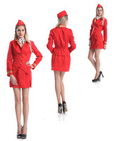 Halloween cosplay Air Hostess Stewardess Cabin Crew Ladies Virgin Style Fancy Dress Costume sexy women