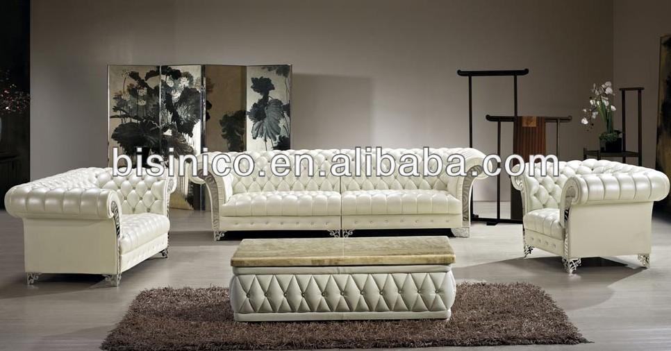 Bisini Luxury Modern Sofa Set Solid Wood Genuine Leather Living Room Furniture