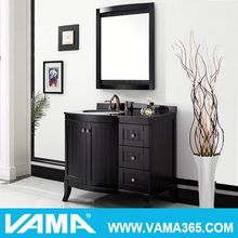 Big size black bathroom vanity dressing tables with mirrored bathroom cabinets