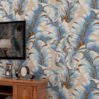 Southeast Asia style/ leaf pattern/ 3d design wallpaper/ OEM service provided/ tailor-made