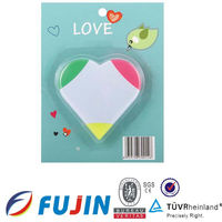 3 in 1 fluorescent heart shape in blistercard beautiful love highlighter promotional gift