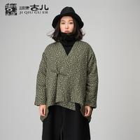 Jiqiuguer 2015Vintage National Style Short Coat Batwing Sleeve V-neck Loose Cotton jacket One Button Winter