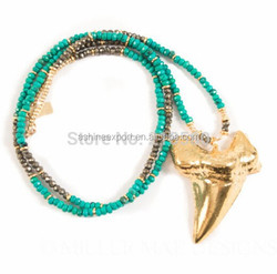 Fashion pendant Bohemian Jewelry Gold Shark Tooth Necklace Long Natural Turquoise and Pyrite long Beaded Necklace
