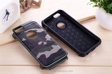 Fashion silicon camouflage phone case hard PC for Samsung S6 ,for iphone 6 2 in 1 hybrid case