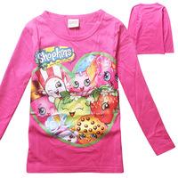 Lovely Kids Clothes Shopkins Season 3 Fashion Cartoon Printed Wholesale Tshirt