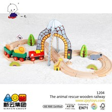 35pcs animal cescue railway toys wood track trian set
