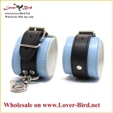 Blue Mid-Level Leather Wrist and Ankle Restraint Heavy Stainless Steel Bondage Gear Instruments
