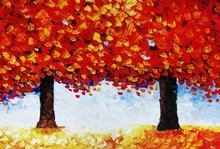 new knife red leaves tree hand painted oil painting on canvas wholesale factory direct