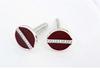 Sterling Silver Button Cufflinks with Burgundy Thread
