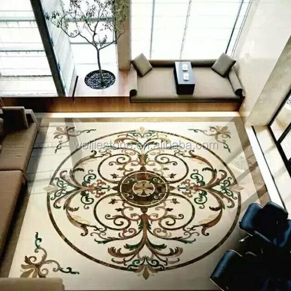 Hot Sale Waterjet Marble Inlay Flooring Design Work View Inlay Weijie Stone