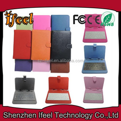 7 Inch Tablet PC Keyboard Leather Case/Cover,Mini/Micro USB Connector