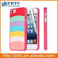 Set Screen Protector And Case For Iphone 5 , Hard Plastic Red Colorful Stripes Customized Color Phone Case