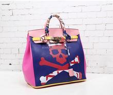 Skull painting art bag H brand tote bag lock handbag with key and big space