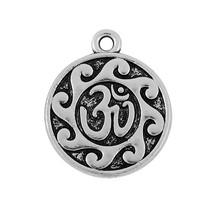 yuvarlak çinko alaşım antika gümüş kaplama om yoga işareti takılar takı toptan