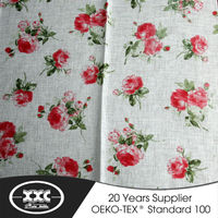 2015 new designs flower 100% polyester faux linen fabric curtain