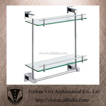 2015 new model stainless steel bathroom accessories wall glass towel shelves