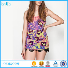 Customize Women Fashion Pretty Trippy Sleeveless Girls Print Tops