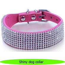 Wholesale four rows rhinestone pet collars China pet supplies