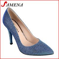 High pumps for women fashion high heel shining pu lady shoes