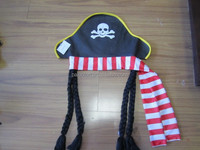 Fashion hot selling Halloween party pirate hat with braid for child