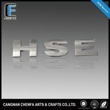 custom design 3d car chrome letters auto chrome rear emblem badges with 3m sticker