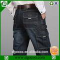 Quanlity elevado e design de moda nova lavado cintura alta seis bolsos macacao men's jeans