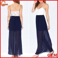 Adjustable straps crochet lace maxi dresses wholesale plus size chiffon maxi dress